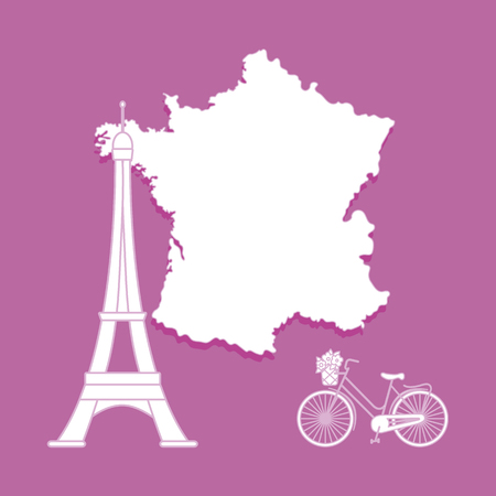 Map of France, famous tower of Paris, bicycle with a basket of flowers. Travel and leisure. Vectores