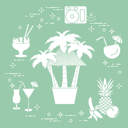 Bar on the beach, palm trees, cocktails, ice cream, music speakers, banana, pineapple, orange.  イラスト・ベクター素材