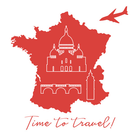 Map of France with bridge, tower, basilica, plane. Travel and leisure concept.