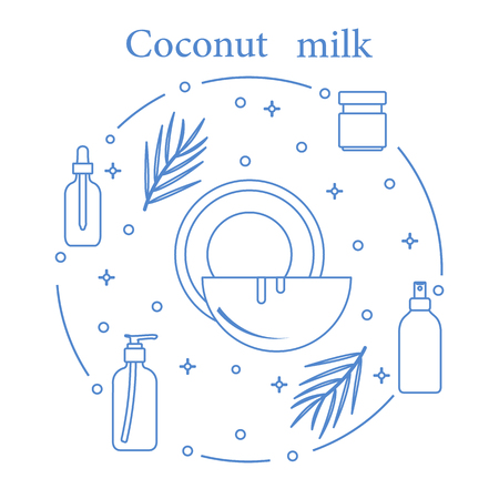 Coconut milk for cosmetics and care products. Glamour fashion vogue style concept illustration.