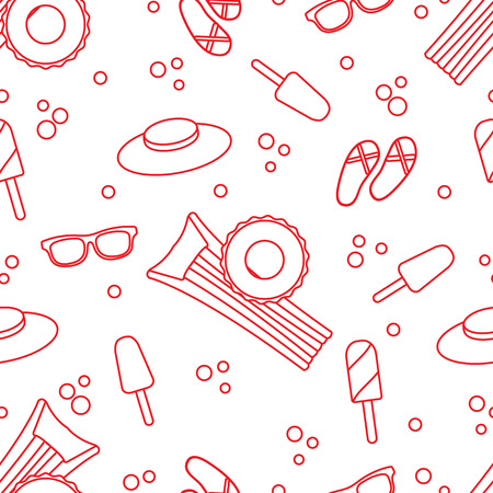 Seamless pattern with inflatable mattress, inflatable circle, ice cream, hat, glasses, beach slippers. Summer rest concept.