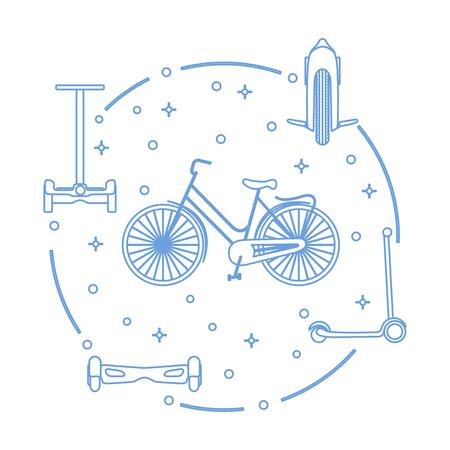 Medios de transporte modernos por la ciudad. Bicicleta, mono-rueda, scooter, gyroscooter.