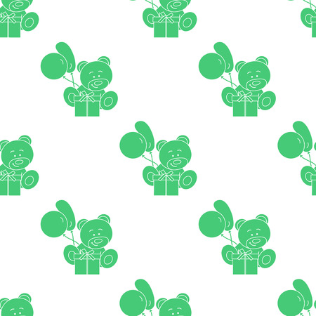 Seamless pattern with children's toys. Bear, gift, balloons. Vectores