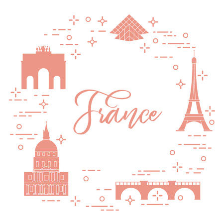 Famous buildings of Paris. Symbols and landmarks. Travel and leisure.