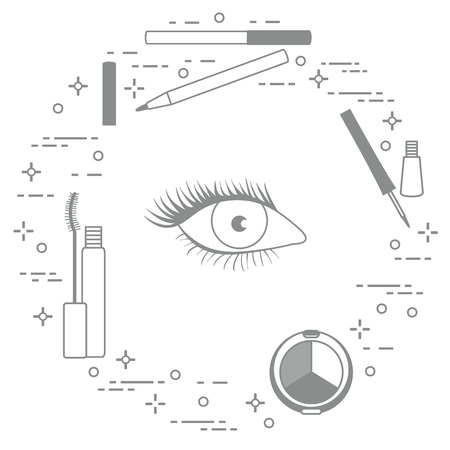 Eye makeup. Decorative cosmetics. Glamour fashion vogue style. Ilustración de vector
