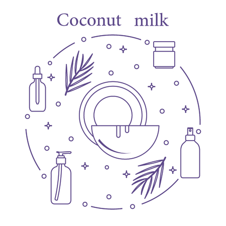 Coconut milk for cosmetics and care products. Glamour fashion vogue style. Banco de Imagens - 104738280