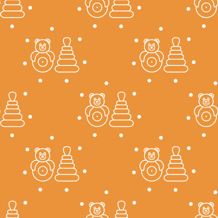 Seamless pattern with children's toys. Roly-poly, pyramid.