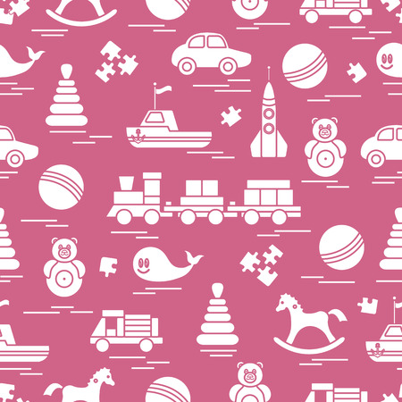Seamless pattern with kids toys. Train, cars, balls, rocking horse, roly-poly, whale, puzzles, pyramid, boat. Ilustração