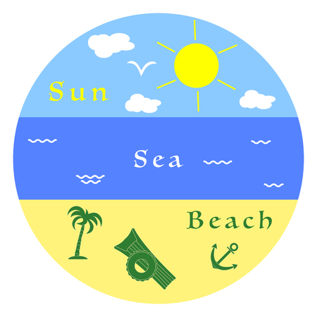 Sun, clouds, bird, sea, waves, beach, inflatable mattress, inflatable circle, anchor, palm. Summer leisure.
