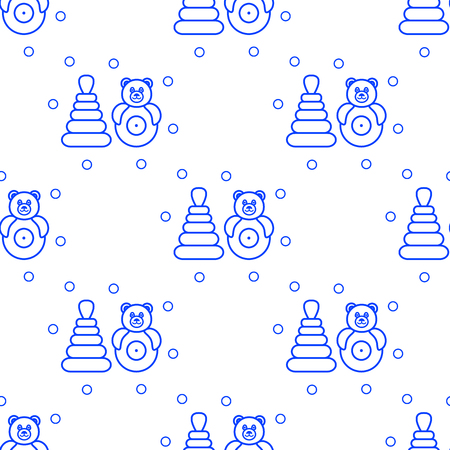 Seamless pattern with childrens toys. Roly-poly, pyramid.