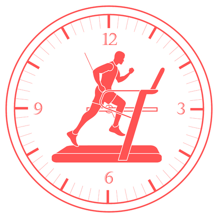 Man jogging on a treadmill and clock. Healthy lifestyle and physical activity.