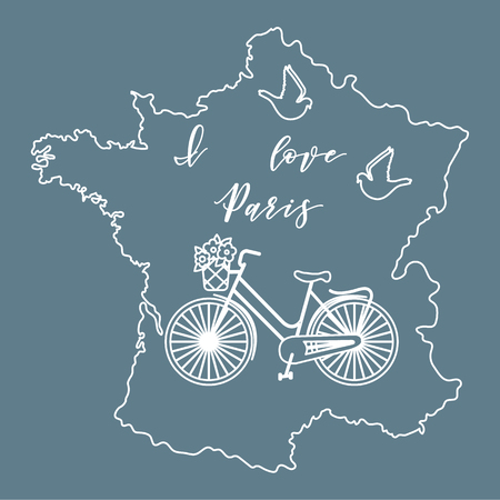 Map of France, bicycle with a basket of flowers, pigeons. Travel and leisure.