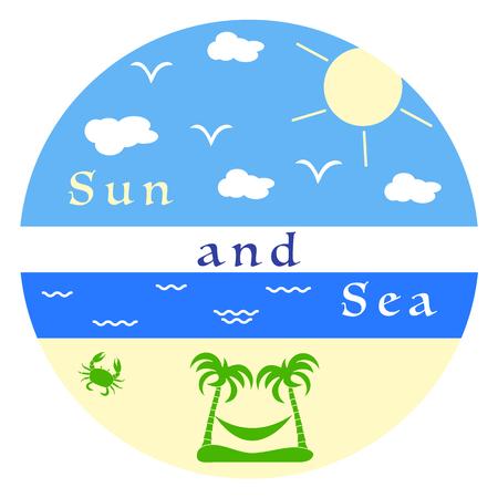 Sun, clouds, birds, sea, waves, beach, crab, palms, hammock. Template for design, print. Vector Illustratie