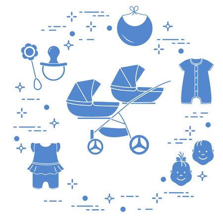 Marchandises pour bébés. Poussette pour jumeaux, visages garçon, fille, hochet, tétine, bavoir, salopette.