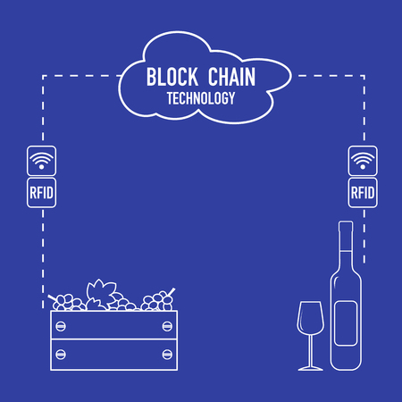 Blockchain. RFID technology. Winemaking from the collection of grapes to wine tasting. 向量圖像