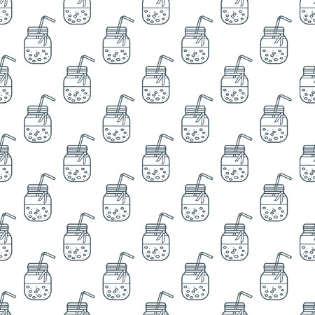 Seamless pattern with smoothie in jars and tubes. Healthy eating habits. Easy cooking process. Ilustração