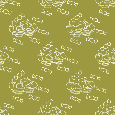 Seamless pattern with dreidel, sevivon, coins, sweets. Jewish holiday Hanukkah. Child game.