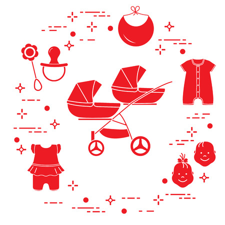 Goods for babies. Stroller for twins, faces boy, girl, rattle, pacifier, bib, overalls.