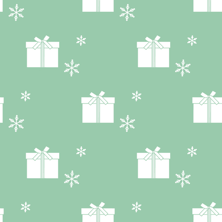 Seamless pattern with gift boxes tied with ribbons and snowflakes. Design for postcard, invitation, banner. Vectores