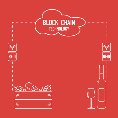Blockchain. RFID technology. Winemaking from the collection of grapes to wine tasting. Illustration