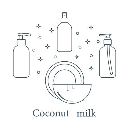 Coconut milk for cosmetics and care products. Glamour fashion vogue style. Banco de Imagens - 105575100