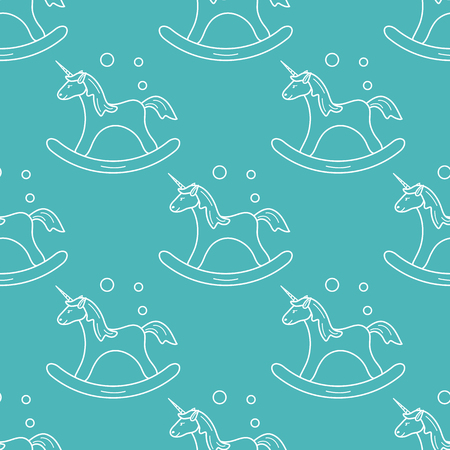 Pattern with rocking magic unicorn and bubbles. Design for children graphic, t-shirt, cover, gift card. Ilustrace