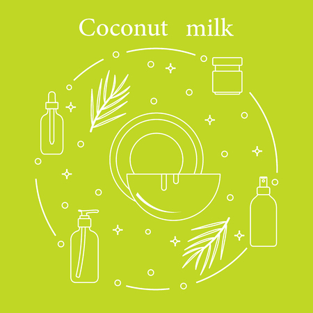 Coconut milk for cosmetics and care products. Glamour fashion vogue style. Banco de Imagens - 105801899