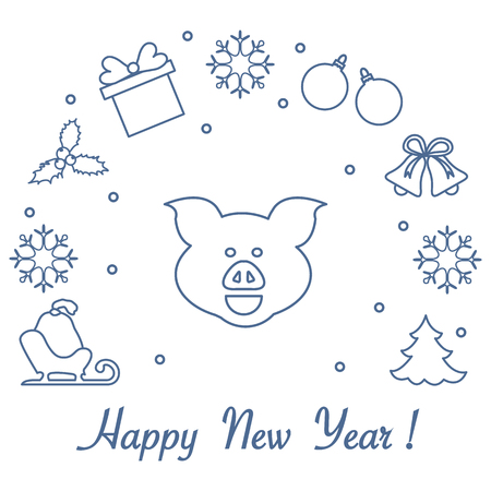 Happy New Year 2019 card. Christmas tree, pig, sled, bag, mistletoe, gift box, balls, bells, snowflakes. Pig is a symbol of the 2019 Chinese New Year.