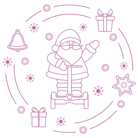 Santa Claus, gifts, bell, gingerbread, star, snowflakes. New Year and Christmas symbols.