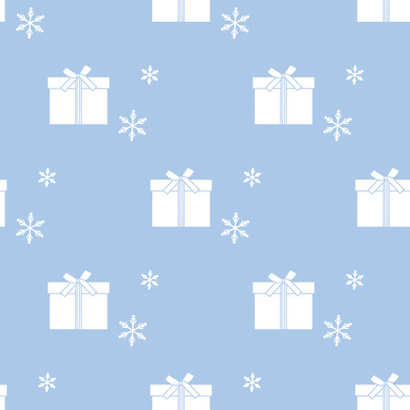 Seamless pattern with gift boxes tied with ribbons and snowflakes. Design for postcard, invitation, banner. Illustration
