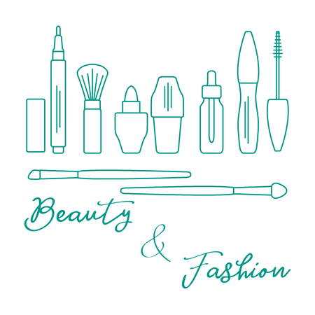 Makeup. Decorative cosmetics, cosmetic oil. Glamour fashion vogue style. Eyeliner, brushes, lipstick, cosmetic oil, applicator, mascara.