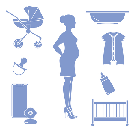 Pregnant woman and goods for babies. Stroller, crib, baby monitor, bottle, pacifier, bath for children, overalls. Illusztráció