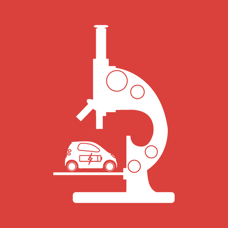 Microscope, electric car, recharge the car battery. New transport eco technologies.