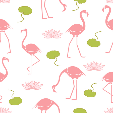 Seamless pattern with flamingo, flowers and leaves water lilies. Design for poster or print. Ilustração Vetorial