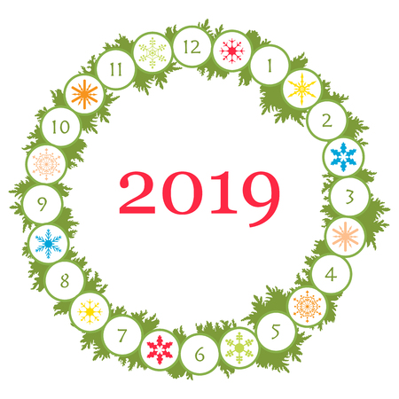 Christmas wreath with fir branches and snowflakes. New year and christmas symbols. Happy New Year 2019 card.