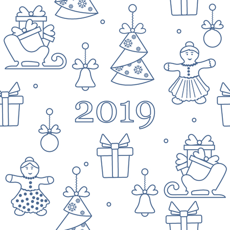 Seamless pattern with christmas and new year symbols. Christmas trees origami, gingerbread man, bells, balls, sledges, gifts.