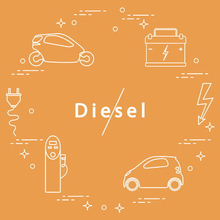 Ban on diesel engines. Transport is environmentally friendly. Electric cars, battery, charging station, electrical safety sign, cable, electrical plug. Transport eco technologies. Illustration