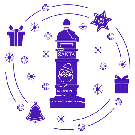 Santa's mailbox, gifts, bell, gingerbread, star, snowflakes. New Year and Christmas symbols. Mail wish list.