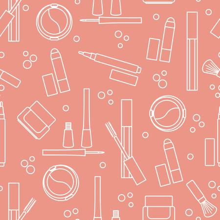 Seamless pattern of decorative cosmetics. Makeup. Eyeliner, eyeshadow, brush, cream, mascara. Glamour fashion vogue style.