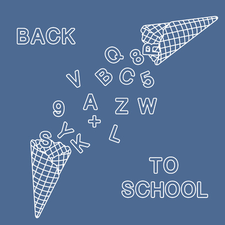 Back to school. Vector illustration with ice cream cones, letters, numbers.