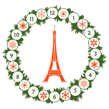 Christmas wreath with fir branches, snowflakes and famous tower. New year and christmas symbols. Happy New Year 2019, Christmas card.