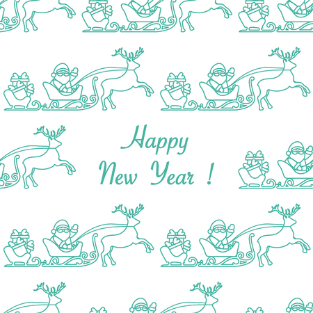 Happy New Year 2019 seamless pattern. Vector illustration Santa Claus with gifts in sleighs with reindeers. Design for print. Illustration
