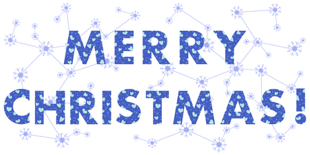 Christmas card with the inscription. The message is decorated with hearts. Design for postcard, banner, print.