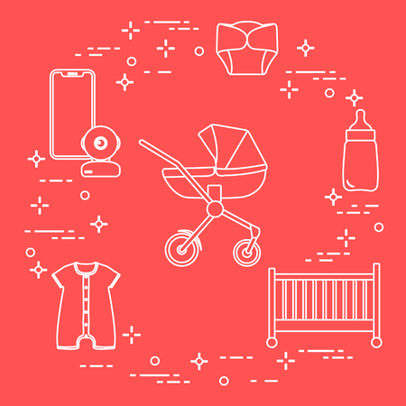 Goods for babies. Stroller, crib, baby monitor, bottle, waterproof panties, overalls.