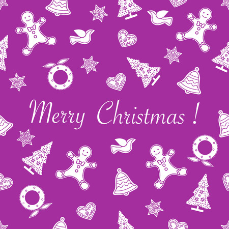 Seamless pattern with christmas and new year symbols. Christmas trees, Christmas wreath, gingerbread man, birds, bells, stars, hearts.
