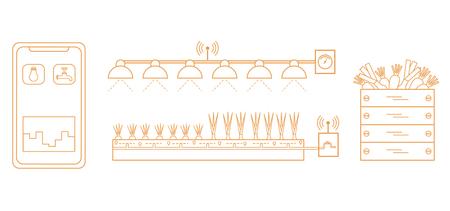 Intelligente Farm und Landwirtschaft. Überwachung und Kontrolle von Temperatur, Luftfeuchtigkeit und Lichtstärke. Anbau von Pflanzen. Neue Technologien. Hohe Ausbeute.