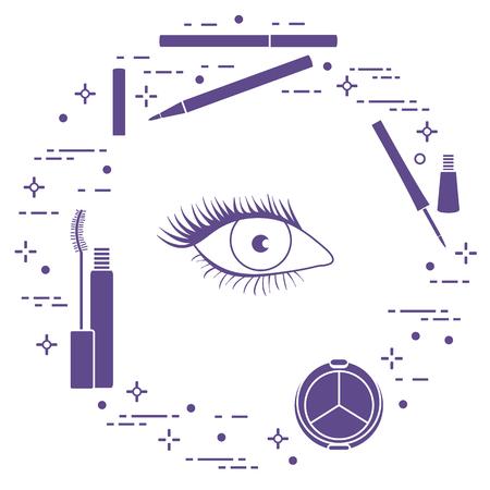 Maquillaje de ojo. Cosmética decorativa. Estilo de moda glamour. Ilustración de vector