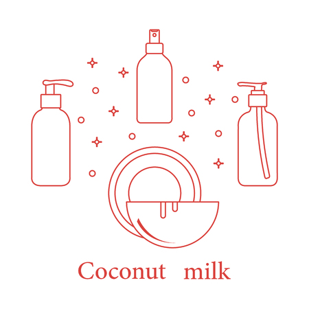 Coconut milk for cosmetics and care products. Glamour fashion vogue style. Banco de Imagens - 106367875