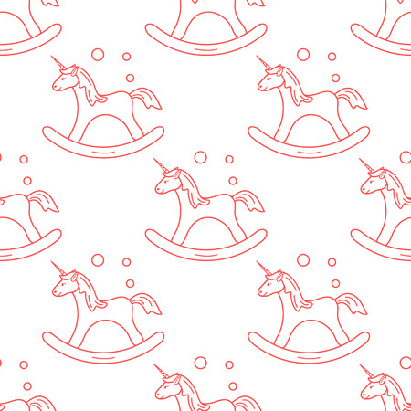 Pattern with rocking magic unicorn and bubbles. Design for children graphic, t-shirt, cover, gift card. Ilustração