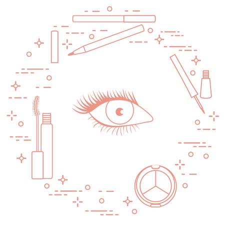 Maquillaje de ojo. Cosmética decorativa. Estilo de moda glamour.